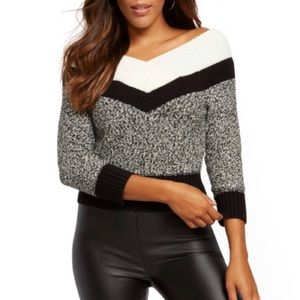 NWT {NY&C} Colorblock On/Off-The-Shoulder Sweater